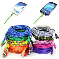 Wholesale 1M M M Ft Braided Fabric Micro USB Data Charger Cable Cord For Iphone Android Cell Phone