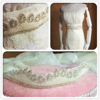 Wholesale Europe luxury handmade pearl diamond rhinestones wedding bride band belt accessories xw44
