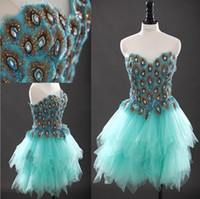 Cheap Sweetheart Peacock Feather Prom Dresses Blue Green Beaded Open Back Tulle Ruffles Layered Formal Evening Gowns Short Cocktail Dresses
