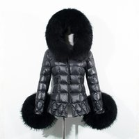 Wholesale 2016 Winter Women Black Down Jacket Coat Raccoon Fur Trim Hood Long Sleeve Warm Parka Coats Fashion Checked Quilted Slim Overcoats CJF0909
