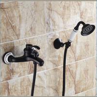 Wholesale antique Black brass bath shower faucet single handle bathtub taps wall mount hot and cold mixer taps J14859