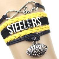 american steelers - Infinity Love STEELERS Football Team Bracelet Navy blue orange white Customize Sport friendship bracelets great quality custom any themes