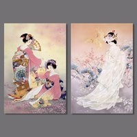 Digital printing art print japan - Japan style pictures decoration Plum flower pink kimono lady Canvas Painting wall Art hanging Japanese living room unframed