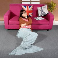 Wholesale Popular Mermaid Tail Hand woven Knitting Wool Blanket Winter Air Conditioning Blankets Siesta Rug for Children and Lady H16876
