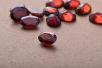 Wholesale 6A no crack no impurities mm faceted natural oval cut garnet cabochons