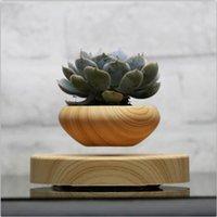 Wholesale 2016 Magnetic Levitation Plastic Floating bonsai Ceramic Flower Pot Bonsai Pots wooden color XMAS Gifts for Men no plant A