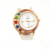 big colorful watches - PVC leather band gold plating alloy round case colorful big crystal deco case quartz movement Gerryda fashion woman lady leather watches