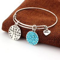 Wholesale Expandable Wire Bracelet Alex and Ani Hope Believe Love Silver Charm Bangle Bracelet for Women New Year Gifts
