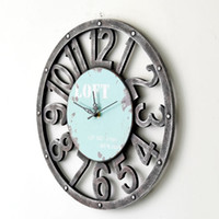 Wholesale Vintage Clock New Arrival American Country Vintage Pendant Hollow Wooden Wall Clock Round Designer Wall Clock