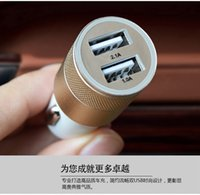 Wholesale Mini Aluminum Material Dual Port Universal USB Car Charger Cable Adapter For iphone ipad Samsung GalaxyS7 DHL