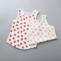 Cheap 2016 Sweet Kids Girls Print Fruit Strawberry Children Vest Lace Cotton Casual Summer Top Shirts Tees