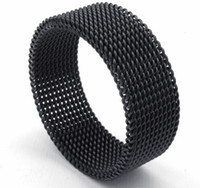 asian screen - 8MM Width L Stainless Steel Popular Black Plated Mesh Screen Ring SZ
