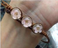 american records - LS023 Dried cherry blossom time record immortalized gem bracelet Sen female line hand woven peach bracelet jewelry