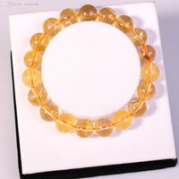 Cheap Wholesale-Natural Citrine Bracelet 10MM Round beads Semi precious stone Crystal charm bangles bracelet for women and men jewelry wholesale