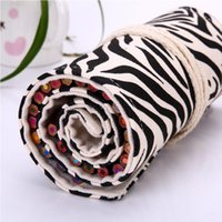 Cheap Simple fashion zebra canvas hand-painted pencil pencil case pencil box creative admission school office essential free shipping