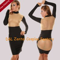 catsuits - DHL Sexy Women Black Lycra Spandex See Through Flesh Silk Zentai Suit Catsuits Leotard For Events Business Dress