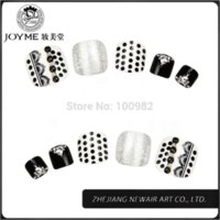 acrylic toe nails designs - 2015 Classical White and Black Design Toe Round Nail Tips Full Cover Acrylic UV Gel False Toe Tips Shiny Decoration