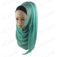 beaded knit scarf - New Arrival Solid Rivet Sequin Scarf Charm High Quality Gold Cotton Studs Beaded Shawl Muslim Hijab