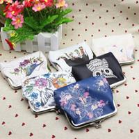 Wholesale Vintage Flower Coin Purse Canvas Key Holder Wallet Hasp Small Gifts Bag Clutch Handbag