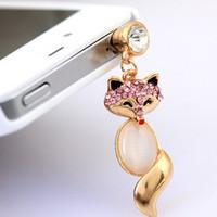 anti dust plug charm - Animal anti plug phone Charming Rhinestones Fox MM Earphone Jack Plug Pendant Cellphone Dust Plug
