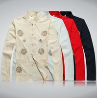 Wholesale Chinese traditional style quinquagenarian tang suit top Kung fu male long sleeve fluid old grogram Tang suit