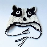 badger hat - Novelty Badger Earflap Hat Handmade Knit Crochet Baby Boy Girl Animal Hat Child Winter Hat Kids Halloween Costume Toddler Photography Prop