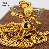 baby bling jewelry - Gold Mircro Baby Angel Piece Charm Pendant with quot Cuban Chain Hiphop Cute Gift Necklace Kbox Bling Jewelry