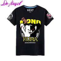 Wholesale Anime Danganronpa Monokuma Tee Shirts Cosplay Costume Unisex Pure Cotton Casual T shirts Top Colors