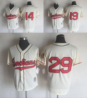 baseballs larry - 2016 Mens Jerseys Stitched Cleveland Indians Larry Doby Bob Feller Satchel Paige Cream Throwback Free Drop Shipping