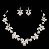 Wholesale New Elegant Wedding Bridal Jewelry Silver Rhinestones with Ivory Pearls Beautiful Necklace with Ear Rings Girls Prom Party Accessory CPA225