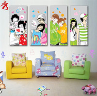 animation abstract - Unframed Canvas Painting Romantic Cartoon Sweet Lovers Modular Picture Cute Animation Figure Heart Home modern room decor