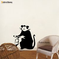 banksy sticker - Banksy Style Rat Wall Decor Mural Wallpaper For Home Decoration Modern Art Decorative Wall Mirror Sticker