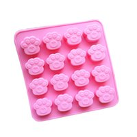 Wholesale Cute Paw Print Cake Mold Love Heart Chocolate Candy Baking Mould Ice Cube Tray Random Color cavity per Sheet