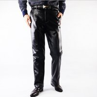 pu leather for leather pants - Mens Black Leather Pants Faux Leather PU Material Black Color Thick Motorcycle Faux Leather Pants For Men Big Size