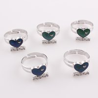best mood ring - 10PCS New Style Mood Rings for Women Zinc Alloy Love Heart Letter Best Friend Vintage Ring Female Jewelry Accessories R118