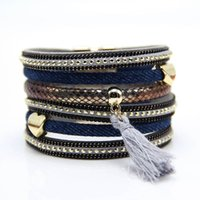 bar jeans - New design Jeans style bracelet heart charms bracelet with tassel fashion high quality Jeans jewelry for women