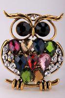 Wholesale Owl stretch ring for women fashion jewelry crystal rhinestone scarf clip buckle animal charm silver gold tone A