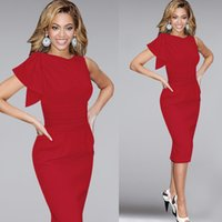 Wholesale S XL Pattern Lotus Leaf Edge Of The Sleeve Pleat slimp Pencil Dress Evening Dress red white blue black dress