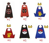 Wholesale Deadpool Pikachu Cape Mask Pokeball Cloak Masks Poke Go Cape With Mask Cartoon Costume Cape Halloween Cosplay Cape Mask Kids Gift E11