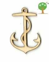 anchor embellishment - 100pcs gift tag unfinished wood mini NAUTICAL ANCHOR shape laser cut diy natural embellishment wishing mm string EA103