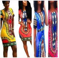 Wholesale 2016 Women Boho Dashiki Dresses colour to choose Long Shirt African Cocktail Clubwear Short Mini Skirt