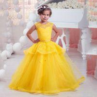 al por mayor desfile de los vestidos de bola amarilla-Vestido de flor amarilla brillante vestido de fiesta vestido de fiesta para las niñas de encaje de perlas Vestidos de comunión santa para las bodas 2016