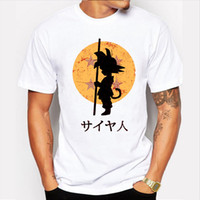 Wholesale Super Hipster Men - Wholesale-2016 NEW Son Goku Printing Tee Men's Fashion Japan Anime Dragon Ball Z T Shirt Super Saiyan shirt Hipster Hot Tops Men Clothing