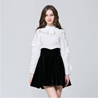 basic butterfly - 2016 new brand fashion beading patchwork designer stand collar butterfly sleeve all match basic shirts blouses tops
