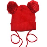 baby toque - Toddler Double pom pom hat Knit baby toddler kids knit hats Girls hat with pom toque beanie Mouse Ear Pom Hat pc H005