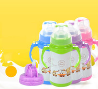 Wholesale 304 Stainless steel infant bottles with straw handles diameter double deck Thermal insulation baby keep warm glass straw cover drink cup
