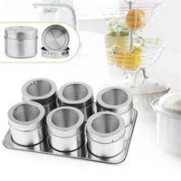 Wholesale 6 Set Stainless Steel Magnetic Salt and Pepper Cruet Condiment Box Cooking Tools Set