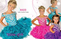 cupcake charm - 2016 Charming Cupcakes Girl Pageant Dresses Spaghetti Straps Short Beads Ball Gowns Glitz Pageant Dresses Organza Llittle Girl Prom Dresses