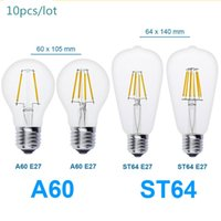 antique ball lamps - 10pcs E27 Antique LED V V Retro LED Filament Lamp LED Glass Bulb A60 ST64 W W W W Globe Bulb Ball Light