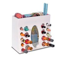 Wholesale Wood Nail Polish Rack Cosmetic Storage Organizer Holder Box with Oval Mirror for Christmas Gift Stock in USA